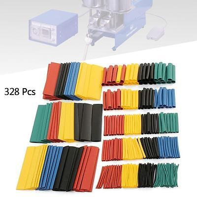 New 328 Pcs 5 Colors 8 Sizes Assorted 2:1 Heat Shrink Tubing Wrap Sleeve Kit #A
