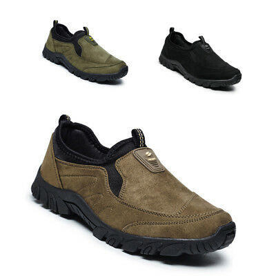 Mens Boys Mens New Taupe Suede Slip On Casual Comfortable Shoes  Outdoor Running