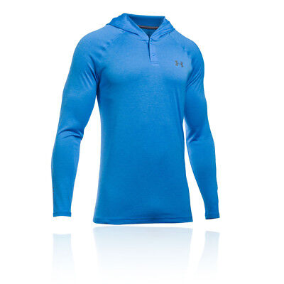 Under Armour Mens Blue Tech Pop Over Hooded Training Fitness Sports Gym Top