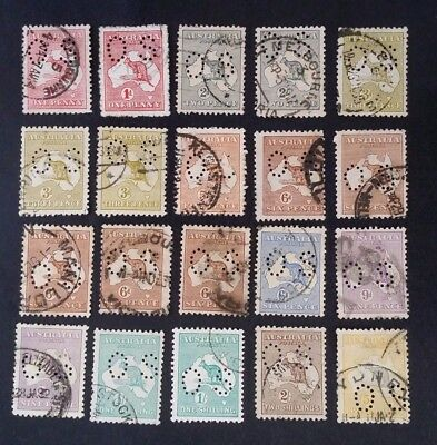 Rare 1913- Australia Lot 20 X Kangaroo Stamps Small O S Perf Used All unchecked