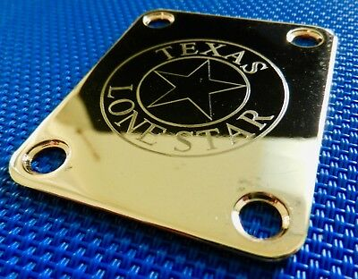 Gold Custom Etched Texas Lone Star NECK PLATE Fender Strat Tele Electric Guitar