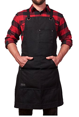 Heavy Duty Waxed Canvas Work Apron with Tool Pockets Adjustable Back Straps