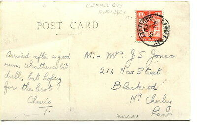 """GB 1929 b/w photographic PPC """"White Lady & Wylfa Head"""" Cemaes Bay Anglesey c.d.s"""