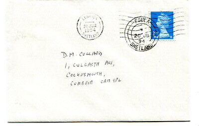 GB 1994 2nd class cover sent Foula (Shetland) via Lerwick to Cumbria