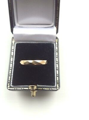 Vintage Antique Old 9ct Gold Faceted Patterned Wedding Band Ring Heavy 3g Size K
