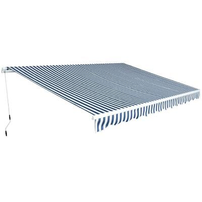 vidaXL Toldo Plegable Manual  Dimensiones 4,5 x 3 m de Color Azul y Blanco
