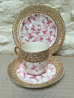 Antique Unmarked Coffee Cup Can Trio Gold Pink Porcelain China Japanese Plate