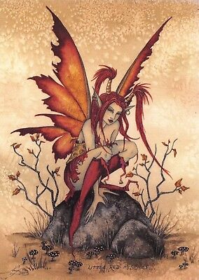 Postcard Amy Brown Gothic Fairy LITTLE RED MISCHIEF 2003 Art Print Collectable