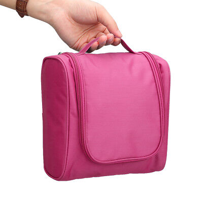 Portable Hanging Toiletry Bag Travel Kit Cosmetics Rugged Mesh Pockets ROSE RED