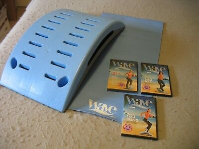 The Firm Wave Exercise Step Stepper Blue Mat and New (5) Wave DVDs