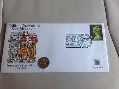 FDC Coin Cover Mint Unc Scottish £1 One Pound Coin 1984