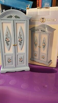 1:12th scale dolls house wardrobe style cupboard blue white floral
