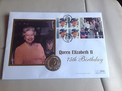 FDC Coin Cover Mint Unc HM Queen 75th Birthday 2001 St Helena 50p Fifty Pence