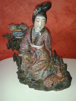 Deesse chinoise en faience polychrome signee antic chinese epoque quianlong
