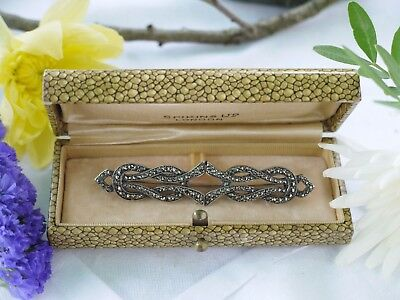 Lovely Old Silver Marcasite Brooch With C Clasp