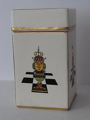 Vintage Carlton Ware Chess Pieces Board Design Pattern Lidded Pot