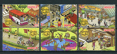 Singapore 2017 MNH Morning Singapore 6v Set Busses Bicycles Trees Stamps