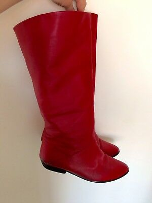 Vintage Red Leather 1980's Pixie Boots Size 7
