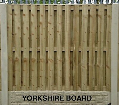 Yorkshire Board Pressure Treated & Tantalised Fence Panel 6ft W x 2ft to 6ft H