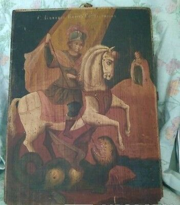 SAINT GEORGE - ANTIQUE OLD RUSSIAN HAND PAINTED WOODEN ICON, BIG, 400mm x 295mm