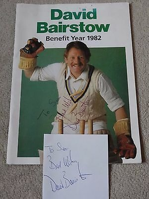 David Bairstow Benefit Year 1982 Signed Programme & Signed Sheet Paper