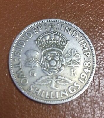 George VI 2 Shilling Florin Coin Collectible 1948
