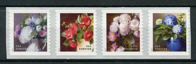 USA 2017 MNH Flowers from Garden 4v S/A Coil Strip Plants Nature Stamps