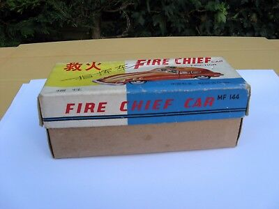 Tinplate Friction Fire Chief Car Boxed