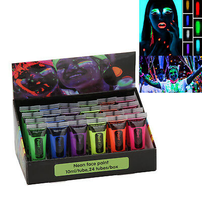 UV Glow Blacklight Face and Body Paint 6/24 Tubes Party Neon Fluorescent 6 Color