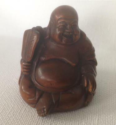 Netsuke Boxwood Happy Buddha With A Fan Well Carved Detailed Uk Seller