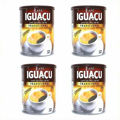 IGUACU Black Spray Dired Instant Coffee - (200g Tins x 4 Pots) Brazilian Coffee