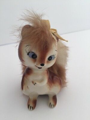 Vintage Empress Ceramic Squirrel Figurine w/ Soft Furry Tail - Japan
