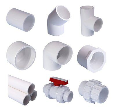 """PVC Pool Pipe & Fittings. White Imperial System: 1 1/2"""" (48.3mm) and 2"""" (60.3mm)"""