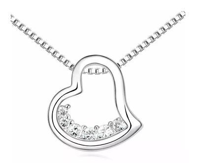 Ladies Womens Girls Silver Tone Small Heart Pendant Necklace Crystal Stones UK 1