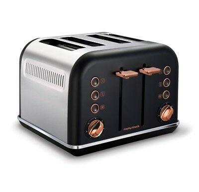 Morphy Richards Accents 4 Slice Wide Slot Toaster In Black Rose Gold 242104
