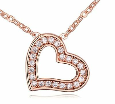 Women's Love Heart Pendant Necklace With Encrusted Crystal Stones Rose Gold UK 1