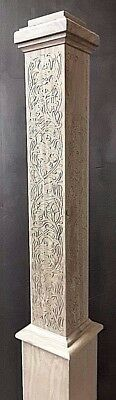 """Carved Box Newel Post 6"""" """"decorative #1"""" Walnut; 10% Off For Large Orders"""