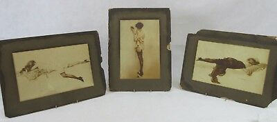 Collection of Vintage Glamour Mounted Large Cards by A Penot & Leo Fontan (252L)