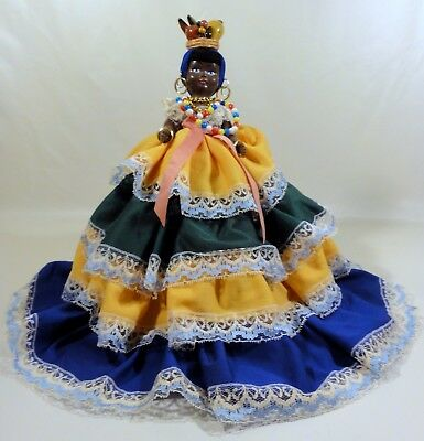 "Topsy Turvy Doll, Molded Polymer, Caribbean/African, 15"", Hoop Skirt"