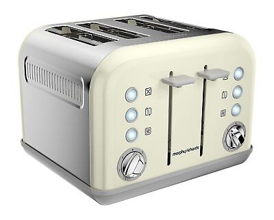 Morphy Richards Accents 4 Slice Wide Slot Toaster In Ivory Cream 242035
