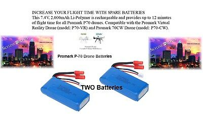 Promark Drone parts Virtual Reality x2  Batteries P70 VR or CW  2000mah REDUCED