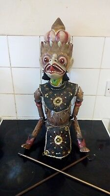 Antique Indonesian wooden stick Puppet