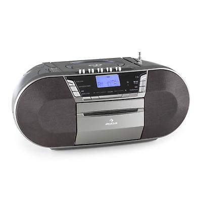 Auna Compact Stereo System Usb Cd Mp3 Player Travel Radio Cassette Music Grey