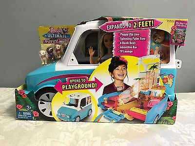 Girls Barbie Ultimate Puppy Mobile Vehicle Barbie Car Home Doll Toy House NEW