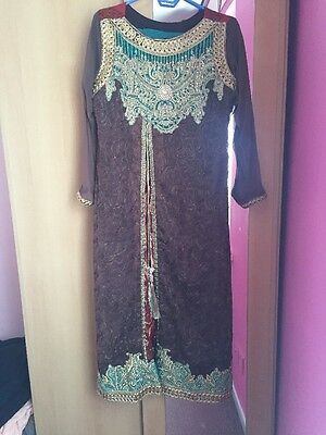 Brown And Teal Anarkali Dress Size 14-16