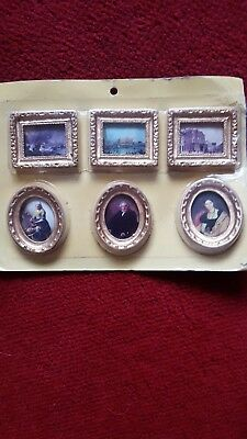 1:12th scale doll house gold framed pictures set of 6 sealed