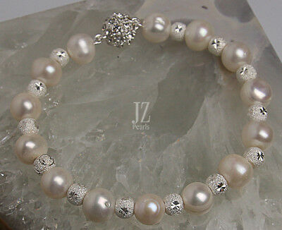 Freshwater Pearls Sterling Silver Carved Beads Bracelet  Magnetic Clasp & Studs
