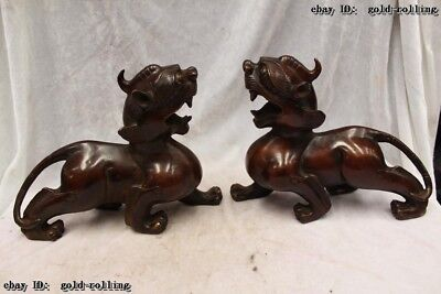 "Old 8""China Purple Bronze carved excellent Lucky Foo Dogs unicorn Statue Pair"