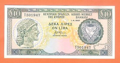 10 CYPRUS POUNDS 1987 -  Circulated. - EF