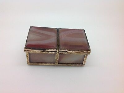 Victorian silver gilt and agate double pill snuff box 1880